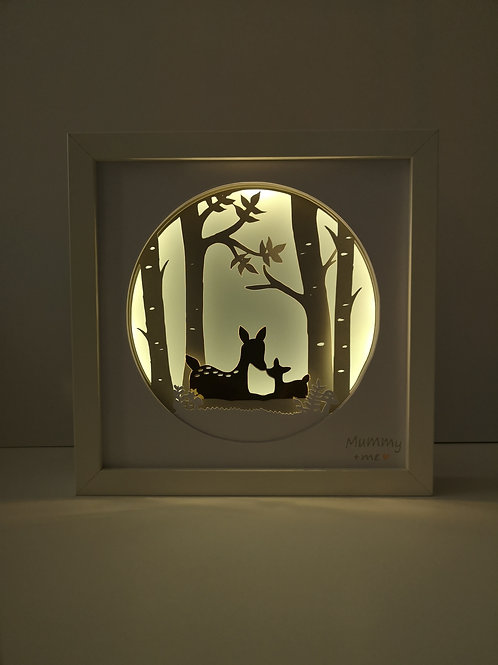Framed Mummy+Me Deer Papercut Mood Light
