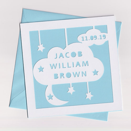 Personalised Papercut Baby Cloud Card