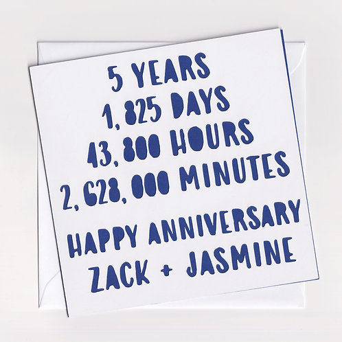 Personalised Papercut Five Year Time Anniversary Card