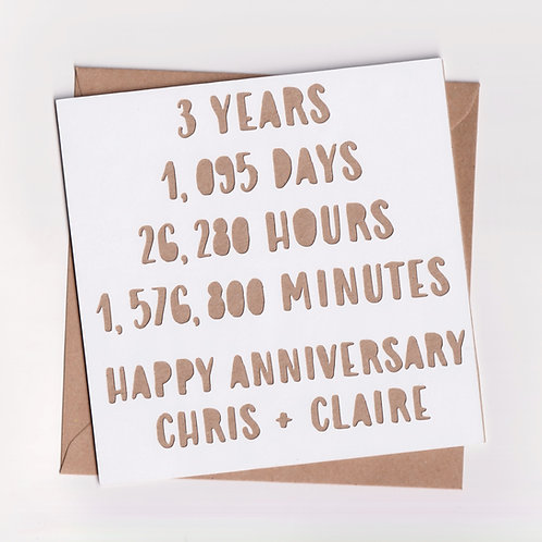 Personalised Papercut Three Year Time Anniversary Card