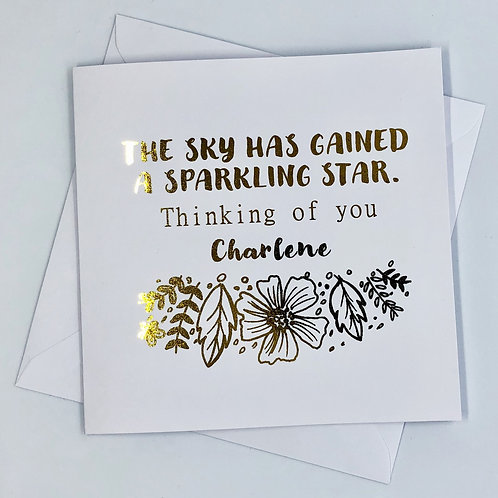 "Personalised Gold Foil Sympathy Card ""Thinking Of You"""