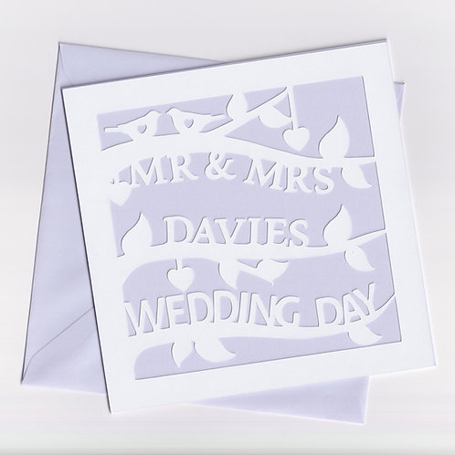 Personalised Papercut Wedding Branch Card