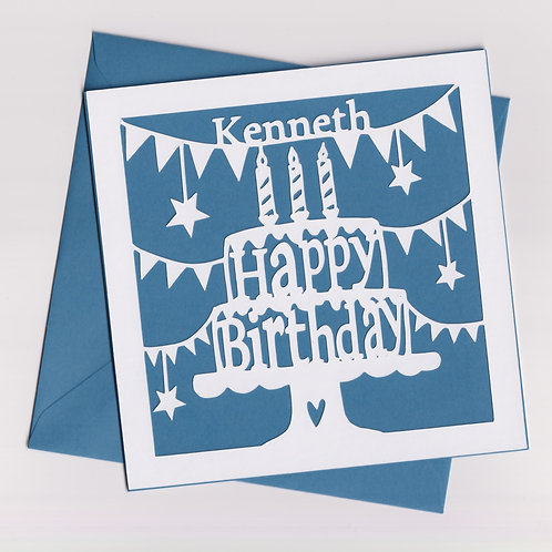 Personalised Papercut Candle Birthday Cake Card