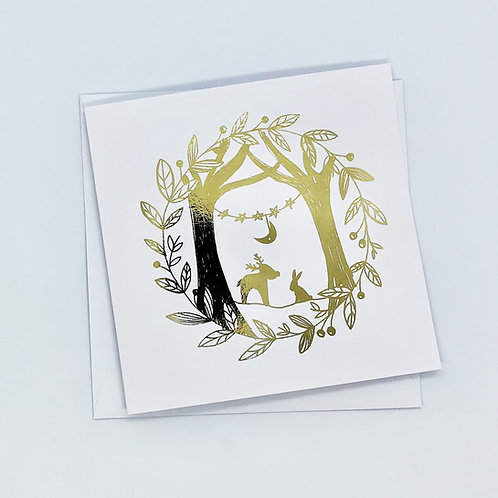 Gold Foil Christmas Scene Card