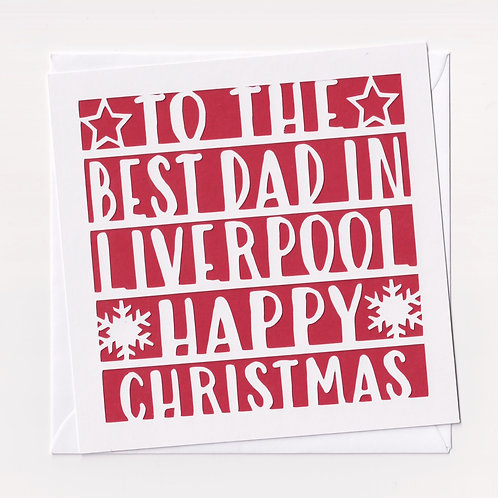 "Personalised Papercut ""Dad Location"" Christmas Card"