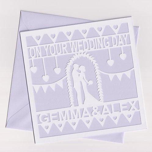 Personalised Papercut Romantic Wedding Couple Card