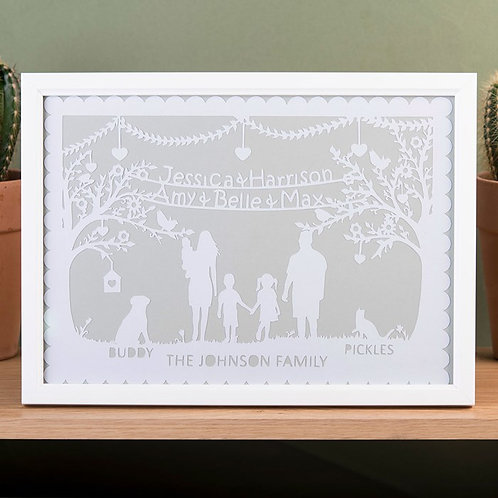 Personalised Family Silhouette Papercut