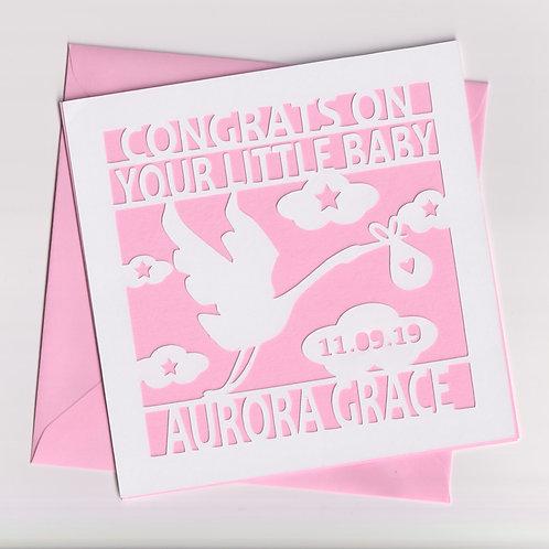 Personalised Papercut Baby Stork Card