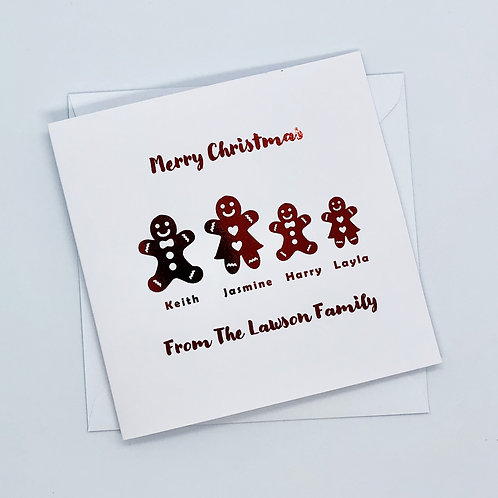 Personalised Red Foil Christmas Family Gingerbread Card