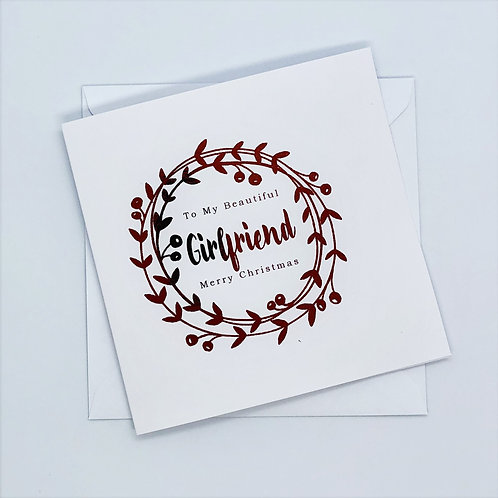 Red Foil Christmas Girlfriend Wreath Card