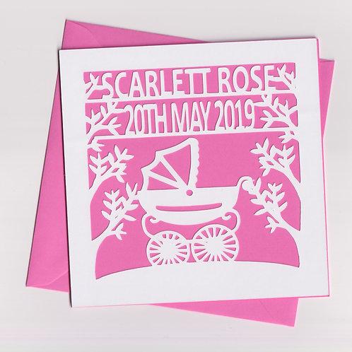 Personalised Papercut Baby Pram Card