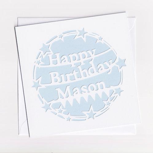 Personalised Papercut Stars Birthday Card
