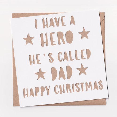 Personalised Papercut Heroe Christmas Card