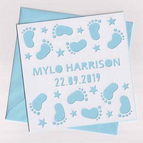 Personalised Papercut Baby Footprint Card