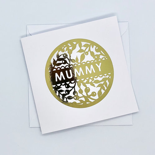 Gold Foil Christmas Mummy Flower Wreath Card