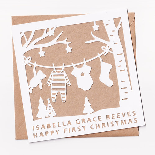 Personalised Papercut Washing Line First Christmas Card