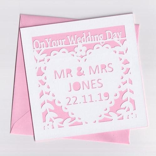 Personalised Papercut Wedding Heart Card