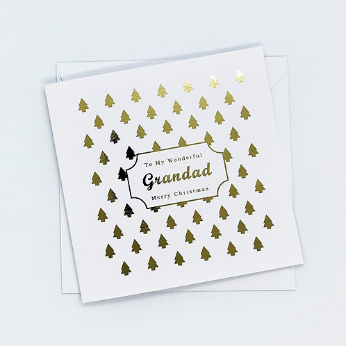 Gold Foil Christmas Grandad Tree Card