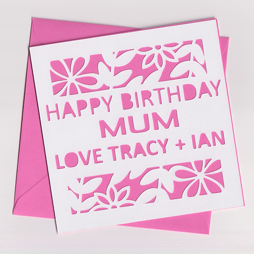 Personalised Papercut Birthday Floral Card