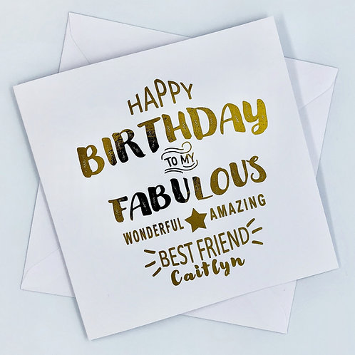 """Personalised """"Fabulous Best Friend Birthday"""" Gold Foil Card"""