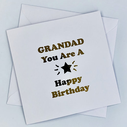 "Gold Foil Grandad Birthday Card ""You Are A Star"""