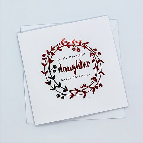 Red Foil Christmas Daughter Wreath Card