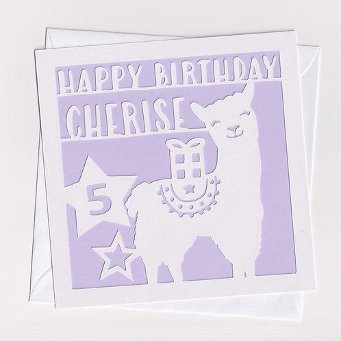 Personalised Papercut Llama Card