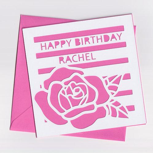 Personalised Papercut Birthday Rose Card