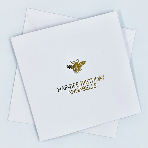 "Personalised ""Hap-Bee Birthday"" Gold Foil Card"