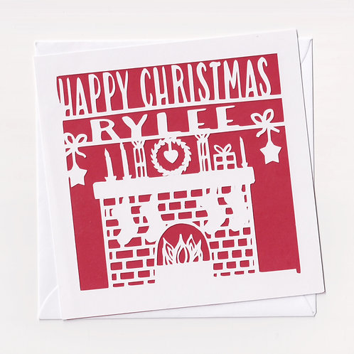 Personalised Papercut Fireplace Christmas Card