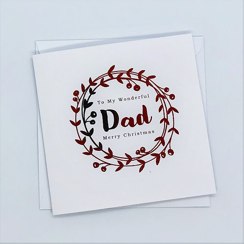 Red Foil Christmas Dad Wreath Card