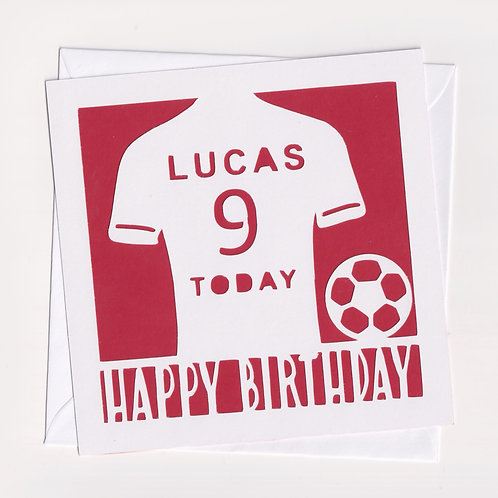 Personalised Papercut Football Shirt Card