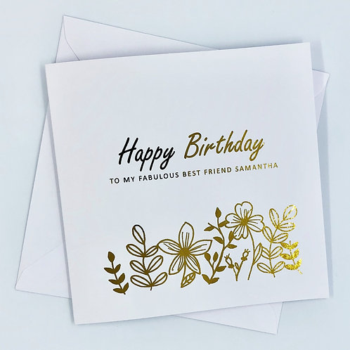 "Personalised ""Floral Birthday"" Gold Foil Card"