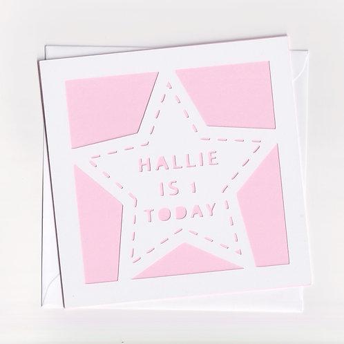 Personalised Papercut Star Birthday Card