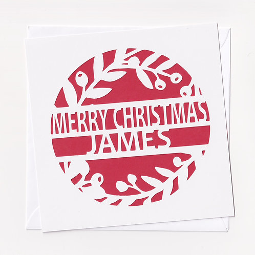 Personalised Papercut Wreath Christmas Card