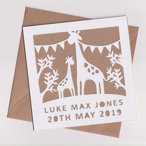 Personalised Papercut Baby Giraffe Card