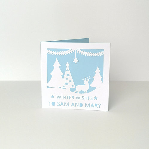 Personalised Papercut Winter Christmas Card