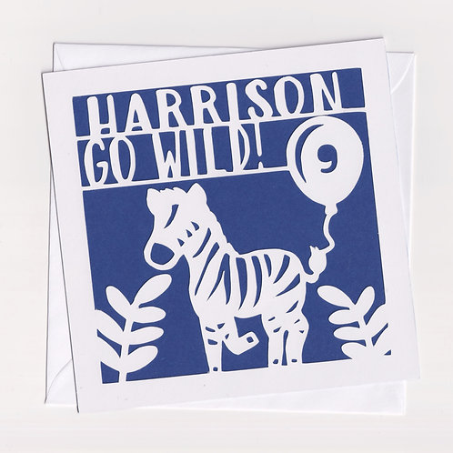 Personalised Papercut Zebra Card