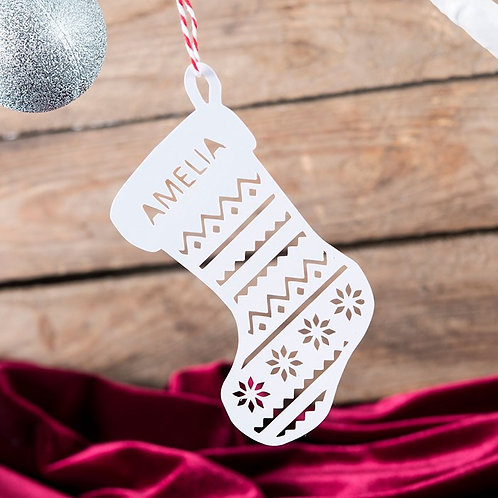 Personalised Stockings Papercut Christmas Tree Decration ( pack of 6)