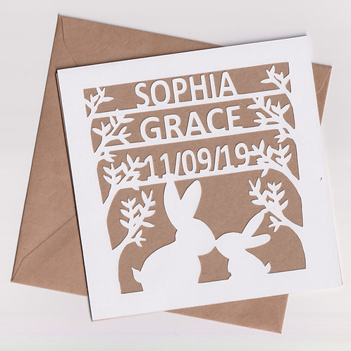 Personalised Papercut Baby Bunny Card