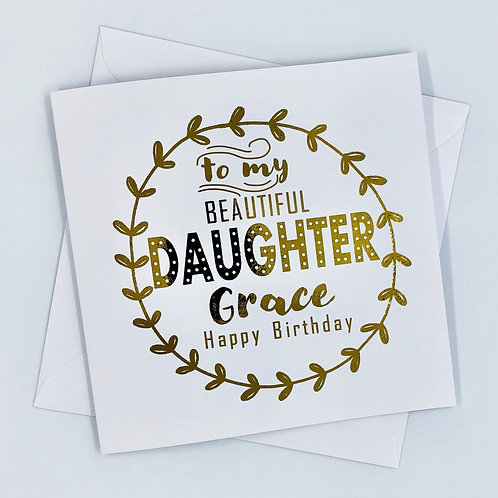 """Personalised """"Vine Daughter Birthday"""" Gold Foil Card"""