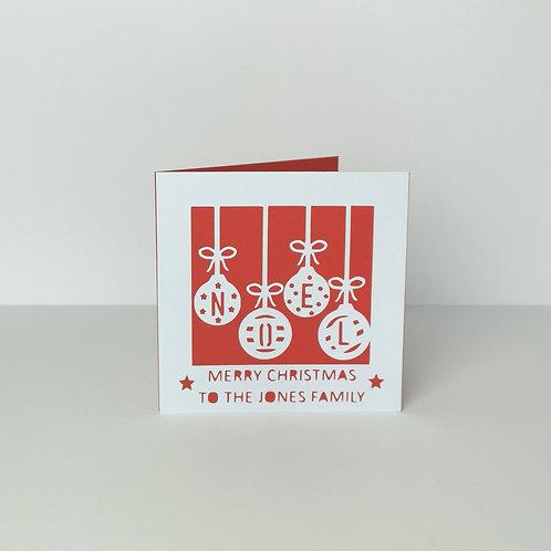 Personalised Papercut Christmas Noel Card
