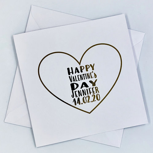 "Personalised "" Heart Happy Valentine's Day"" Gold Foil Card"
