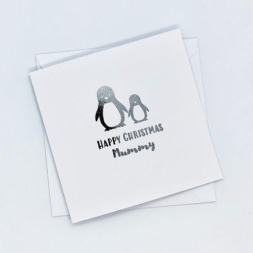 Silver Foil Christmas Mummy Penguin Card