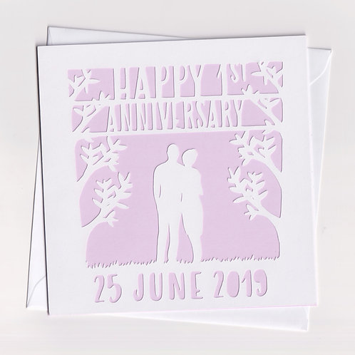 Personalised Papercut Couple Anniversary Card