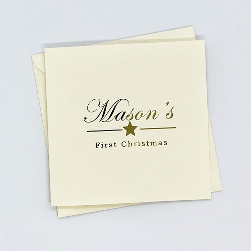 Personalised Gold Foil 1st Christmas Card