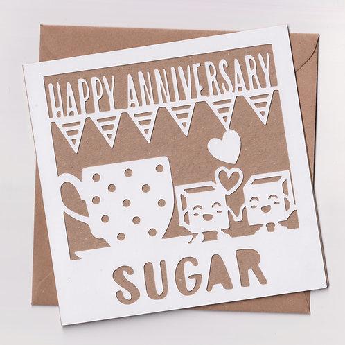 Papercut Sugar Anniversary Card