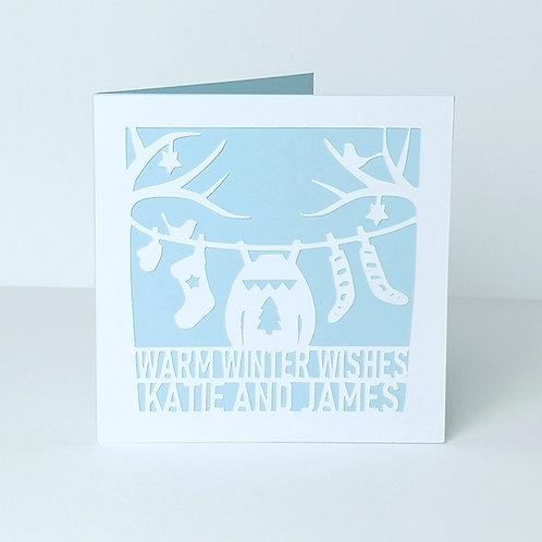 Personalised Papercut Christmas Couple Washing Line Card