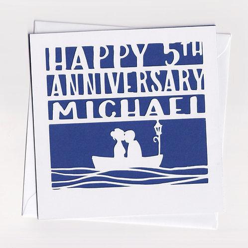 Personalised Papercut Boat Anniversary Card