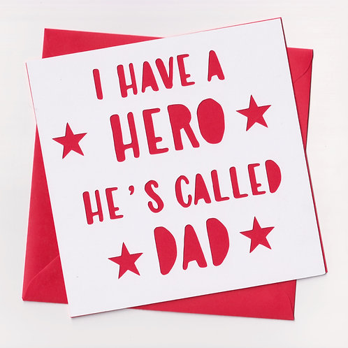 Personalised Papercut Hero Dad Card